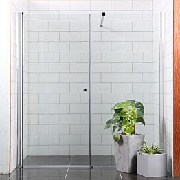 Suihkuovi Bathlife Mångsidig Vital 900x1900 mm + suihkuseinä 900x1900 mm suora kirkas