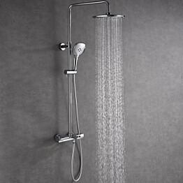 Suihkusetti Bathlife Välla, yläsuihku + käsisuihku + termostaatti + ammehana, kromi