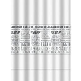 Suihkuverho Duschy Bathroom Rules 180x200cm