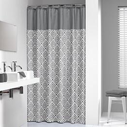 Suihkuverho Pisla Sealskin Angoli 180x200 cm harmaa/valkoinen tekstiili
