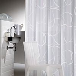 Suihkuverho Pisla Sealskin Movement 180x200 cm valkoinen/harmaa tekstiili