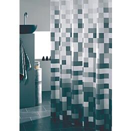 Suihkuverho Pisla Sealskin Pixel 180x200 cm valkoinen/harmaa/turkoosi kuvioitu tekstiili