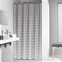 Suihkuverho Pisla Sealskin Speckles 180x200 cm harmaa/valkoinen tekstiili