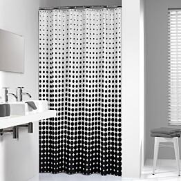 Suihkuverho Pisla Sealskin Speckles 180x200 cm musta/valkoinen tekstiili