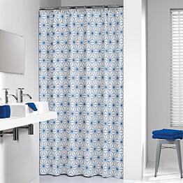 Suihkuverho Pisla Sealskin Triangles 180x200 cm sininen/valkoinen tekstiili