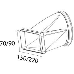 Suorakaidenhormin muuntokappale Falmec, 220x90 Ø150