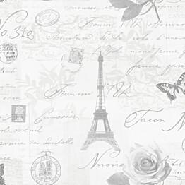 Tapetti Imaginarium 97752 Calligraphy 0,53x10,05 m valkoinen/harmaa/hopea paperitapetti