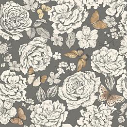 Tapetti Imaginarium 98911 Frieda Charcoal Beige 0,53x10,05 m valkoinen/musta/ruskea non-woven