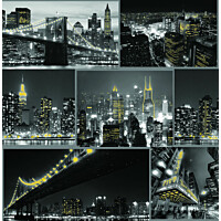 Tapetti Sandudd Fresco City at Night Black 101696 0.53x10.5m
