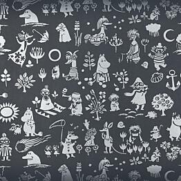 Tapetti Sandudd Moomin 5164-1, 0,53x11,2m, musta/hopea, non-woven