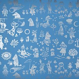 Tapetti Sandudd Moomin 5164-4, 0,53x11,2m, sininen/hopea, non-woven