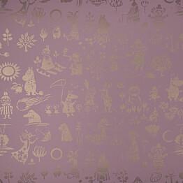 Tapetti Sandudd Moomin 5164-5, 0,53x11,2m, vaaleanpunainen/kulta, non-woven