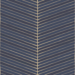 Tapetti YALA Fish Bone Blue YA19563 0,53x10,05 m sininen/kulta non-woven