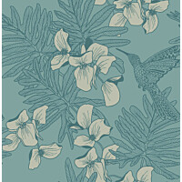 Tapetti 1838 Wallcoverings Hummingbird turkoosi 0,52x10,05 m