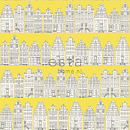 Tapetti Amsterdam Houses 137712 0,53x10,05 m keltainen non-woven