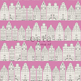 Tapetti Amsterdam Houses 137714 0,53x10,05 m pinkki non-woven