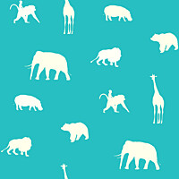 Tapetti Animals 137337 0,53x10,05 m turkoosi non-woven