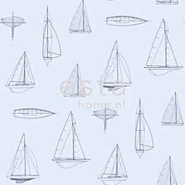 Tapetti Boats 136431 0,53x10,05 m vaaleansininen/sininen non-woven