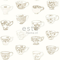 Tapetti Cup and Saucers 138151 0,53x10,05 m beige non-woven