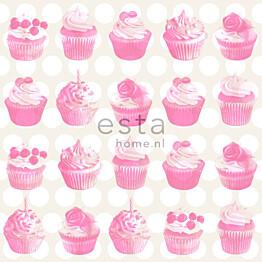 Tapetti Cupcakes with Shiny Dots 138723 0,53x10,05 m pinkki