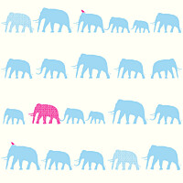 Tapetti Elephant 137329 0,53x10,05 m turkoosi/pinkki non-woven