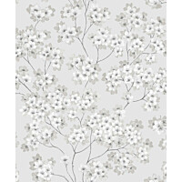 Tapetti Feeling FE20220 Japanese Flower Ecodeco 0,53x10,05 m harmaa/beige