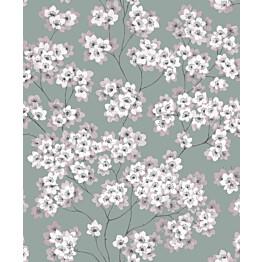 Tapetti Feeling FE20221 Japanese Flower Ecodeco 0,53x10,05 m vihreä/pinkki