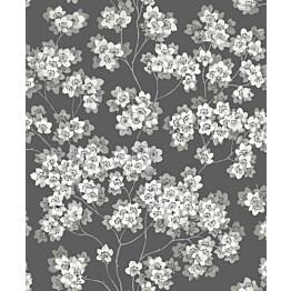 Tapetti Feeling FE20223 Japanese Flower Ecodeco 0,53x10,05 m mustavalkoinen