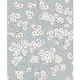 Tapetti Feeling FE20224 Japanese Flower Ecodeco 0,53x10,05 m sininen/vaaleanpunainen