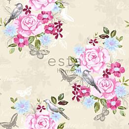Tapetti Flowers & Birds 138119 0,53x10,05 m pastelli non-woven
