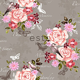 Tapetti Flowers & Birds 138121 0,53x10,05 m punainen/seepia non-woven