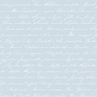 Tapetti Handwriting Latin Flower Names 128038 0,53x10,05 m vaaleansininen non-woven