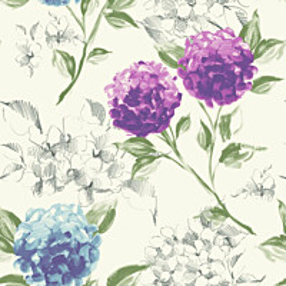 Tapetti Hydrangeas 128021 0,53x10,05 m violetti/sininen non-woven