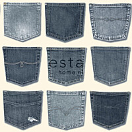 Tapetti Jeans Pocket 137739 0,53x10,05 m sininen/valkoinen non-woven