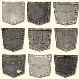 Tapetti Jeans Pocket 137740 0,53x10,05 m harmaa non-woven