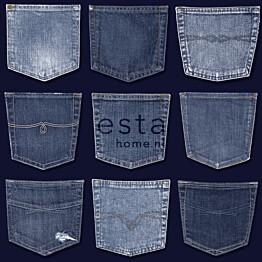 Tapetti Jeans Pocket 137741 0,53x10,05 m sininen non-woven