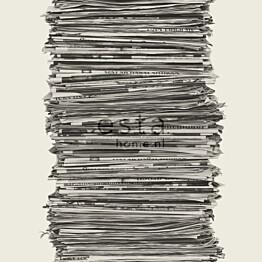 Tapetti Newspapers 137717 0,53x10,05 m harmaa/valkoinen non-woven
