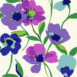 Tapetti Poppies 128028 0,53x10,05 m violetti/turkoosi non-woven