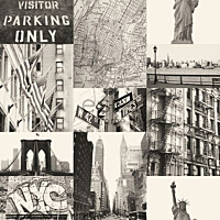 Tapetti Street View New York 137718 0,53x10,05 m musta non-woven