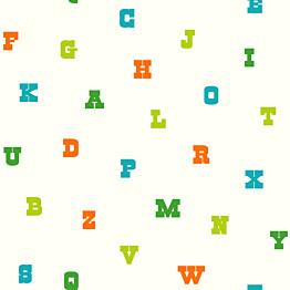 Tapetti Text 137324 0,53x10,05 m limenvihreä/oranssi non-woven