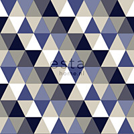 Tapetti Triangles 138716 0,53x10,05 m sininen, harmaa, beige