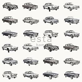 Tapetti Vintage Cars 138733 0,53x10,05 m harmaa, hiilenmusta, valkoinen