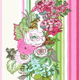 Tapetti Vintage Flowers 138115 0,53x10,05 m pinkki/lime non-woven