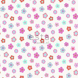 Tapetti Vintage Flowers 138724 0,53x10,05 m pinkki, turkoosi, korallinpunainen