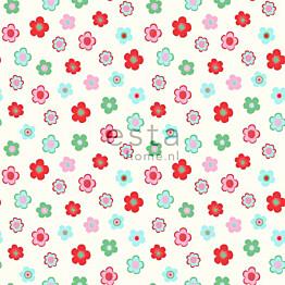 Tapetti Vintage Flowers 138726 0,53x10,05 m vaaleansininen, punainen, vihreä