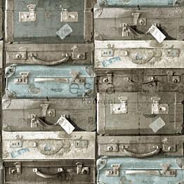 Tapetti Vintage Suitcases 138214 0,53x10,05 m vedenvihreä/ruskea