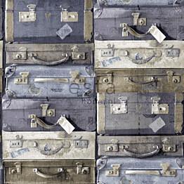 Tapetti Vintage Suitcases 138215 0,53x10,05 m sininen/ruskea