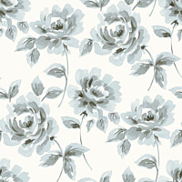 Tapetti Watercolor Painting Roses 128013 0,53x10,05 m siniharmaa non-woven