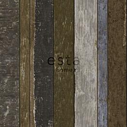 Tapetti Wooden Boards 138254 0,53x10,05 m tummanruskea/sininen