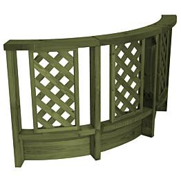 Vihreä, kaareva aita T13 terassin erkkereihin ja kaareviin kulmiin